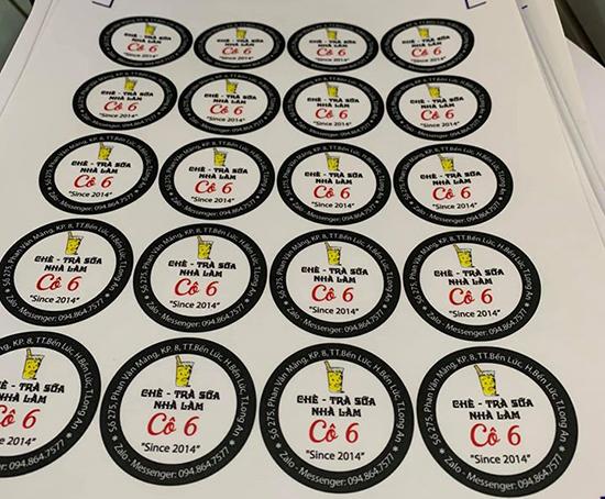In tem dán ly trà sữa - uy tín chất lượng tại In Nhanh Bến Lức