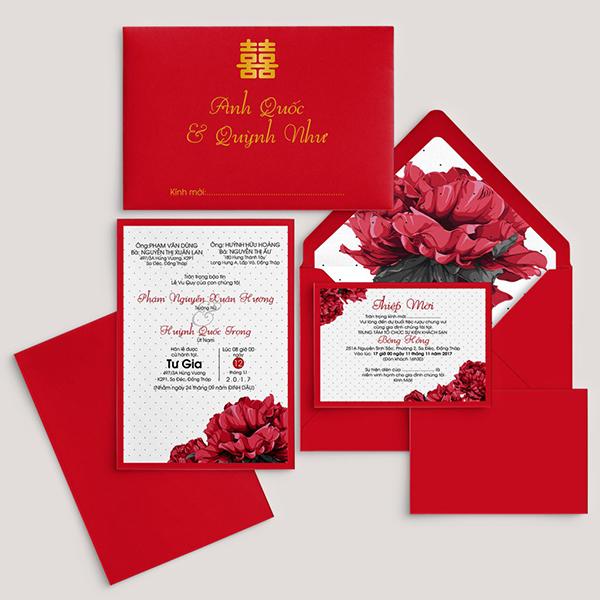Thiệp cưới có gam màu đỏ vừa giữ được nét truyền thống vừa đẹp và sang trọng